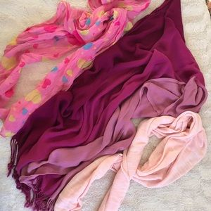 Accessories - Softer pinks scarves 3 pc bundle